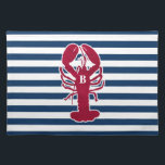 """Red Lobster Placemats with blue and white Stripes<br><div class=""""desc"""">These fun,  colorful,  preppy red lobster placemats are adorned with a blue and white striped background.  The placemats can be customized with an initial or name.  Perfect for your special event,  beach or lake house or everyday dining.</div>"""