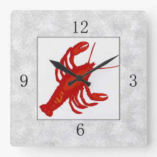 Red Lobster Square Kitchen Wall Clock