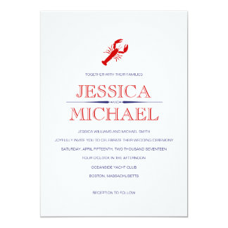 Red Lobster Wedding Navy Blue Nautical Theme Card