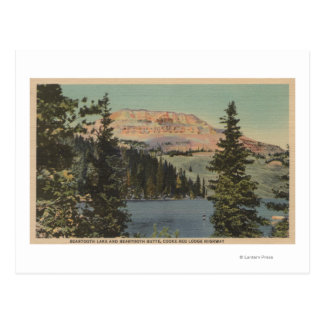 Red Lodge, MT - View of Beartooth Lake & Butte Postcard