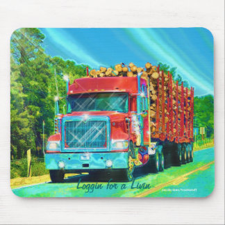 Red Logging Truck Highway Driving Art Mousepad