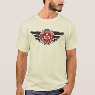 Red logo on light colored shirt of your choice