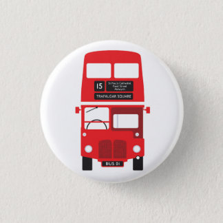 Red London Bus Badge Button