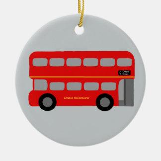 Red London Bus Ceramic Ornament