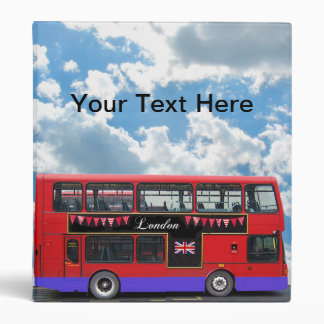Red London Bus Double Decker 3 Ring Binder