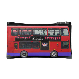 Red London Bus Double Decker Cosmetics Bags