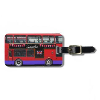 Red London Bus Double Decker Bag Tag