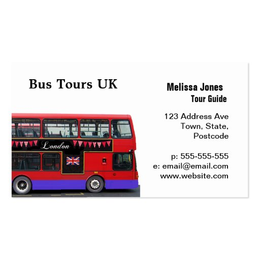 red london bus double decker double sided standard business cards pack of 100 zazzle. Black Bedroom Furniture Sets. Home Design Ideas