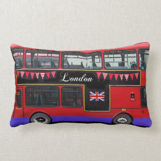 Red London Bus Double Decker Lumbar Pillow