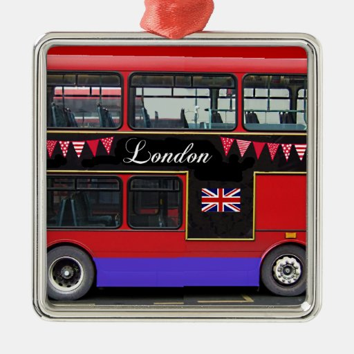 Red London Bus Double Decker Square Metal Christmas Ornament
