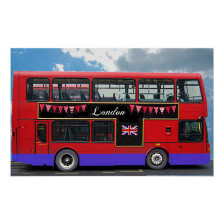 Red London Bus Double Decker Poster