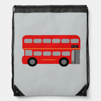 Red London Bus Drawstring Bag