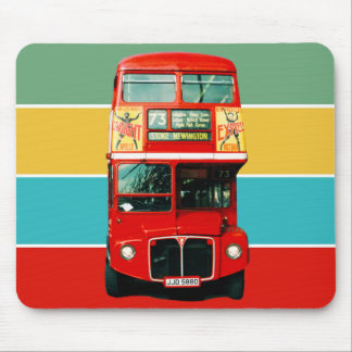 Red London Bus on Colored Stripes Mouse Pad