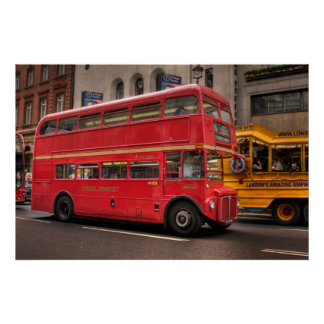 Red London bus on Whitehall London England Posters