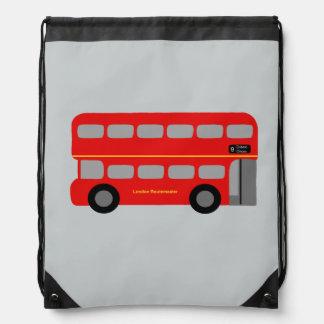 Red London Bus Drawstring Bag