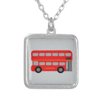 Red London Bus Square Pendant Necklace