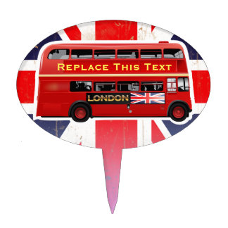 Red London Bus Themed Cake Topper