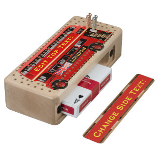 Red London Bus Themed Cribbage Board