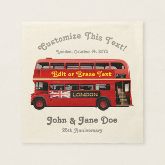 Red London Bus Themed Paper Napkin