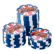 Red London Bus Themed Poker Chip Set