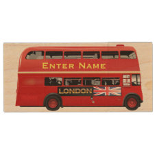 Red London Bus Themed Wood Flash Drive