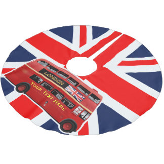 Red London Double Decker Bus Brushed Polyester Tree Skirt