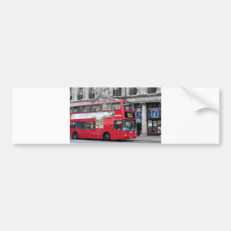 Red London Double Decker Bus, England Car Bumper Sticker