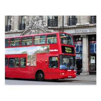 Red London Double Decker Bus, England Postcard