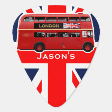Red London Double Decker Bus Guitar Pick
