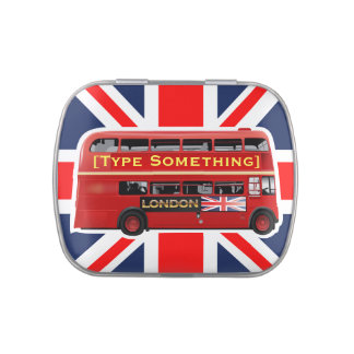 Red London Double Decker Bus Jelly Belly Candy Tin