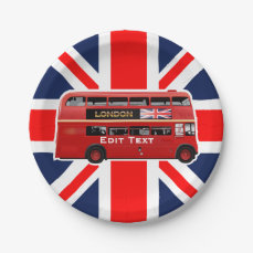 Red London Double Decker Bus Paper Plate
