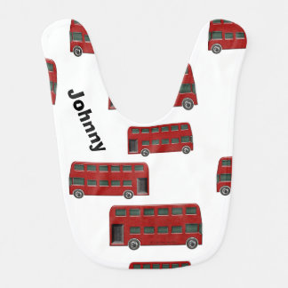 Red London Double-Decker Bus Print Baby Bib