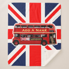 Red London Double Decker Bus Sherpa Blanket