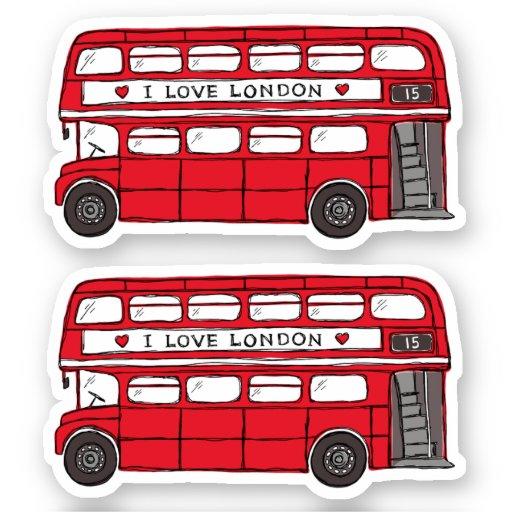 Red London double decker bus Sticker
