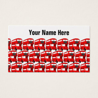 Red London Double Decker Bus Travel Wallpaper Business Card