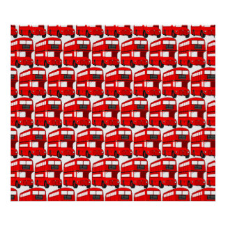 Red London Double Decker Bus Wallpaper Poster
