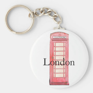 Red London phone booth keychain