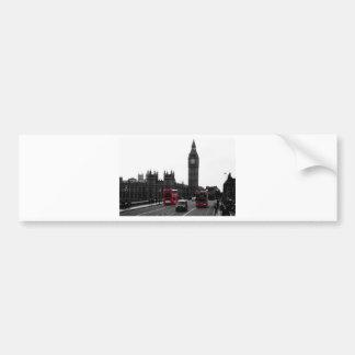 red London Tour bus and Big Ben Car Bumper Sticker