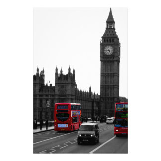 red London Tour bus and Big Ben Custom Stationery