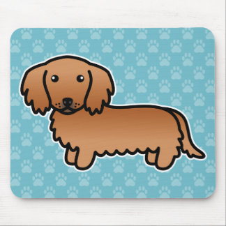 Red Long Coat Dachshund Cartoon Dog Mouse Pad