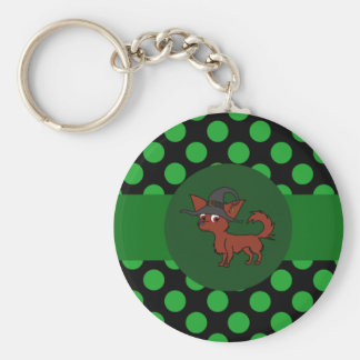 Red Long Hair Chihuahua with Green Dots Basic Round Button Keychain