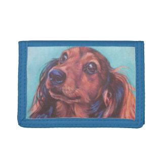 Red Long Hair Dachshund Fine Art Wallet