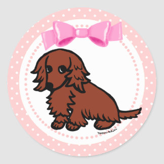 Red Long Haired Dachshund 2 Classic Round Sticker