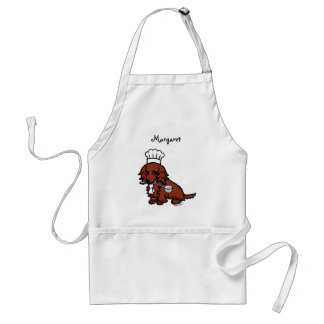 Red Long Haired Dachshund Chef Adult Apron