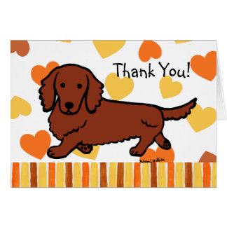 Red Long Haired Dachshund Thank You Greeting Card