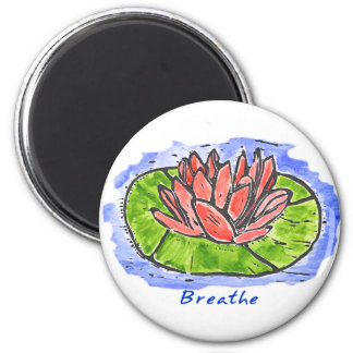 Red Lotus Breathe Lino Cut 2 Inch Round Magnet
