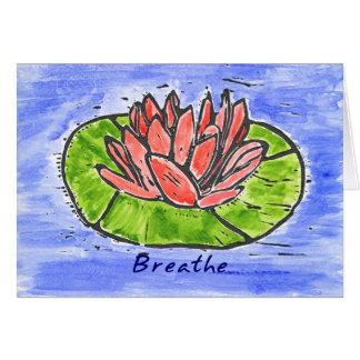 Red Lotus Breathe Lino Cut Card