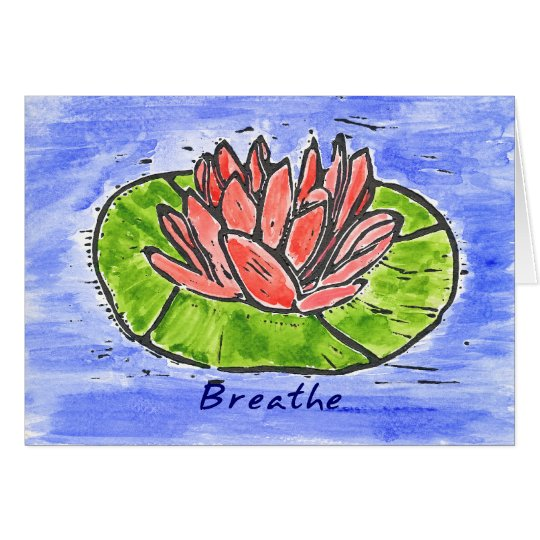 Red Lotus Breathe Lino Cut Card