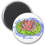 Red Lotus Breathe Lino Cut Fridge Magnets