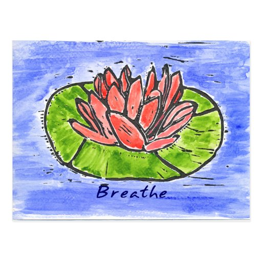 Red Lotus Breathe Lino Cut Postcard